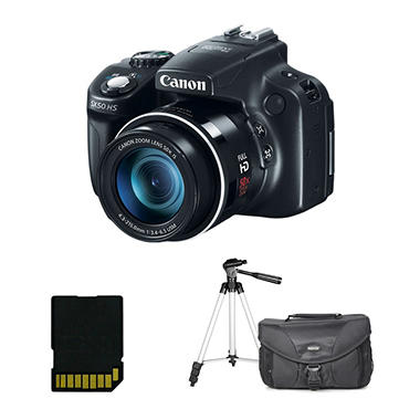 Canon SX50 12.1MP Digital Camera with 50x Optical Zoom, Including Bonus Bag, Tripod, and 8GB Card