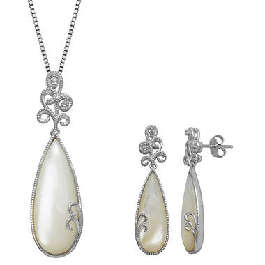 Mother of Pearl Pendant and Earring Set with Diamond Accents in Sterling Silver