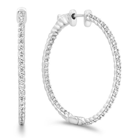 3 CT. TW. Diamond Hoop Earrings in 14K White Gold (H-I, I1)