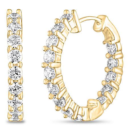 1 CT. TW. Diamond Hoop Earrings in 14K Yellow Gold (H-I, I1)