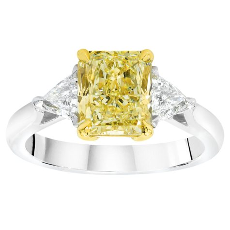 3.07 CT. T.W. Fancy Light Yellow Radiant-Cut 3-Stone Diamond Ring with Trilliants in Platinum