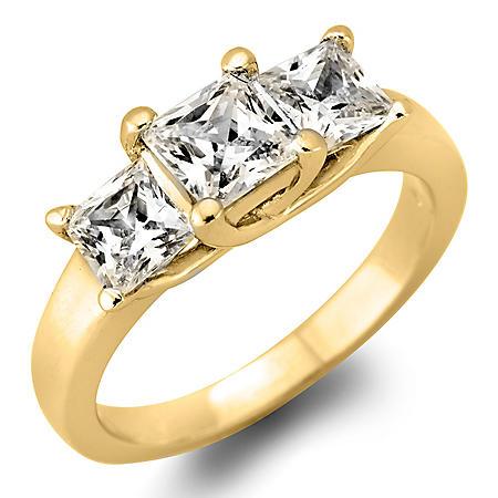1.95 CT. T.W. Princess-Cut Diamond 3-Stone Ring in 14K White or Yellow Gold (H-I, VS2)