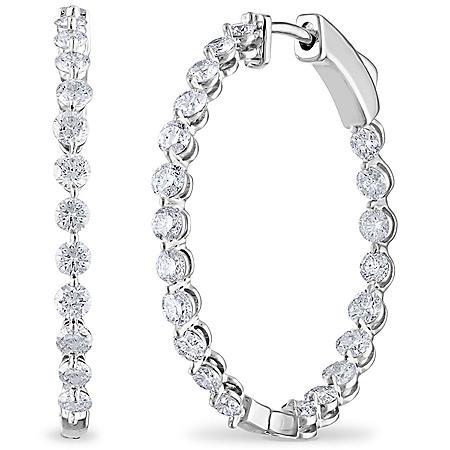 2.45 CT. TW. Diamond Hoop Earrings in 14K Gold