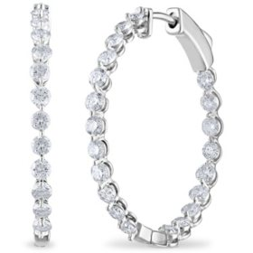 2.45 CT. TW. Diamond Hoop Earrings in 14K Gold