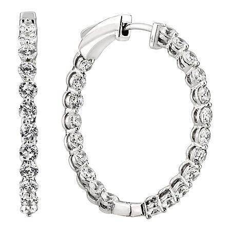 1.45 CT. TW. Diamond Hoop Earrings in 14K White Gold (H-I, I1)