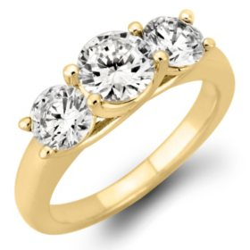 1.95 CT.TW Round Diamond 3-Stone Ring in 14K Yellow or White Gold (I, I1)