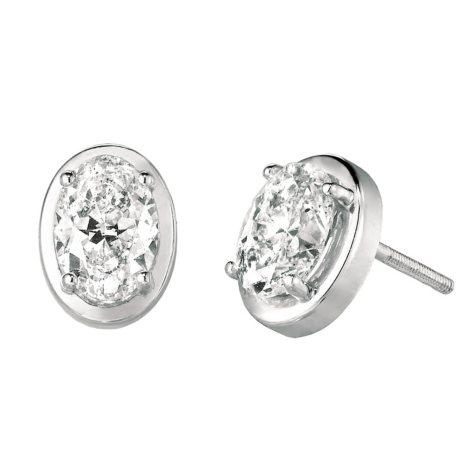 1.16 CT.TW. Oval-Cut Diamond Stud Earrings set in 14K White Gold (H-I, SI2)