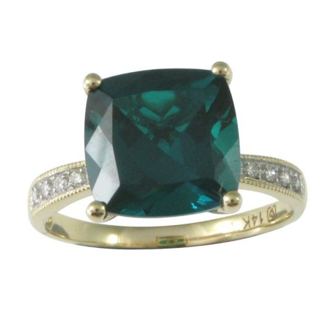 2.64 ct. Cushion-Cut Lab-Created Emerald Ring with Diamond Accents in 14K Yellow Gold
