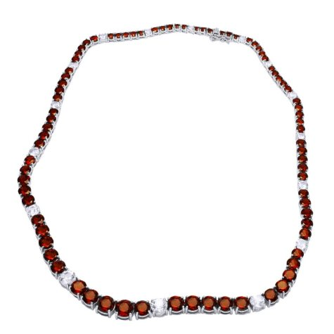 Garnet & White Topaz Necklace in Sterling Silver (42 ct. t.w.)