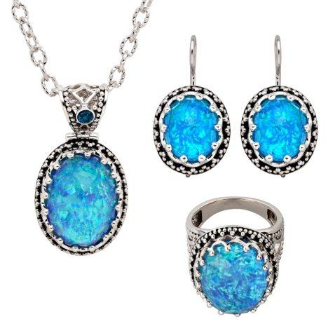 Opal Quartz Ring, Pendant & Earring Set in Sterling Silver