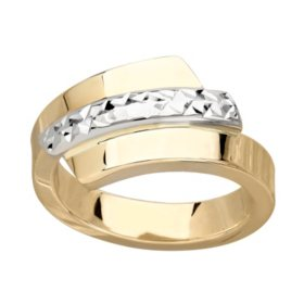 Two-Tone Italian Bypass Ring in 14K Gold