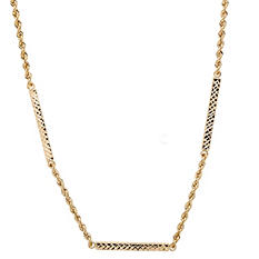 Rope Chain Diamond Cut Necklace in 14K Yellow Gold