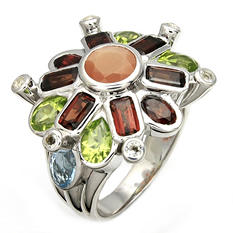 Garnet, Peridot, Blue & White Topaz and Orange Moonstone Ring in Sterling Silver