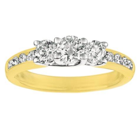 1.00 ct. t.w. Round-Cut Diamond Three Stone Plus Ring 14K Yellow Gold (I, I1)