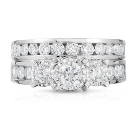 1.95 CT. T.W. 3 Stone+ Diamond Ring in 14K White Gold (HI-I1)