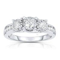 0.95 CT. T.W. Diamond Ring in 14K White Gold (HI,I1)