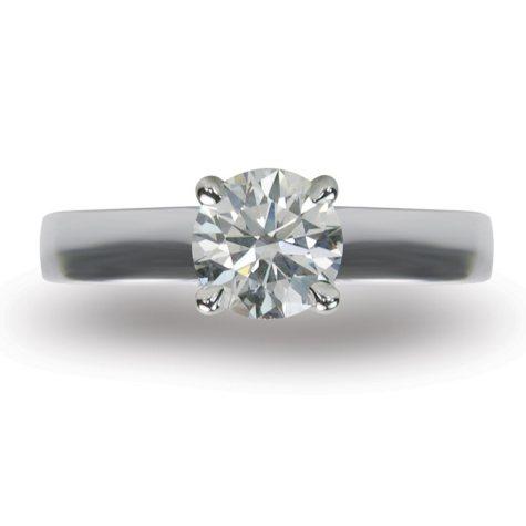 1.10 ct. Round Brilliant-Cut Diamond Solitaire Ring in 18k White Gold (I, VS2)