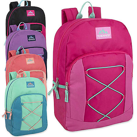 "Trailmaker 17"" Bungee Backpack, 4 Assorted (24 Packs)"
