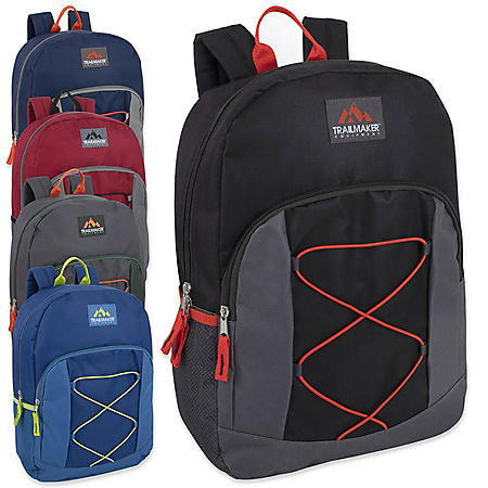 "Trailmaker 17"" Bungee Backpack, 4 Assorted Colors (24 Packs)"