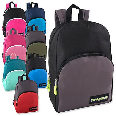 """Trailmaker 15"""" Backpack, 8 Assorted Colors, 24 Backpacks"""