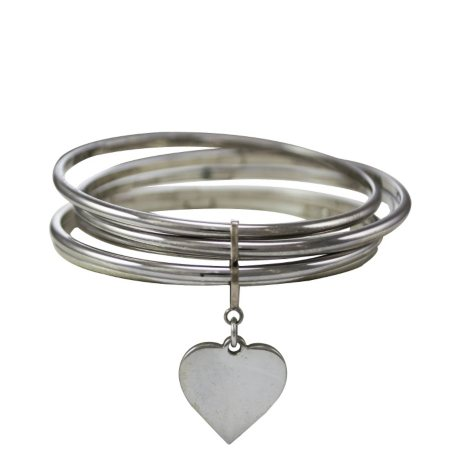 Love, Earth® 5-Stack Bangle Bracelets with Heart Charm