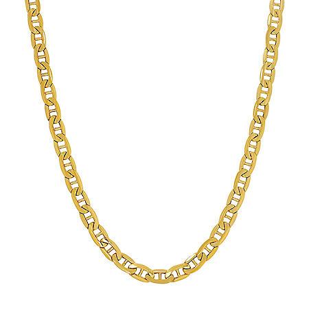 Italian 14K Yellow Gold Hollow Mariner Link Chain