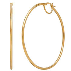 14K Yellow Gold 2x60mm Round Hoop Earrings