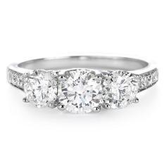 Premier Diamond Collection 1.99 CT. T.W. Three-Stone Diamond Engagement Ring in 14K White Gold - IGI (G-H, SI2-I1)