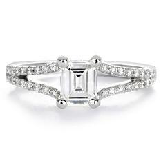 Premier Diamond Collection 0.87 ct. t.w. Emerald Diamond Split Band Engagement Ring in 18K White Gold - GIA & IGI (E, VS2)