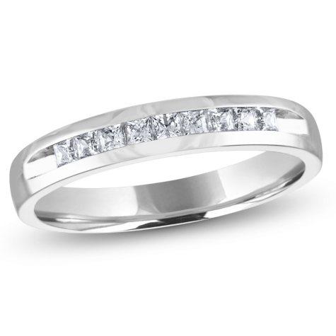 .25 ct. t.w. Channel Set Princess Diamond Band in 14K White Gold (H-I, I1)