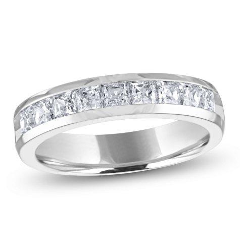 1.00 ct. t.w. Channel-Set Princess Diamond Band in 14K White Gold (H-I, I1)