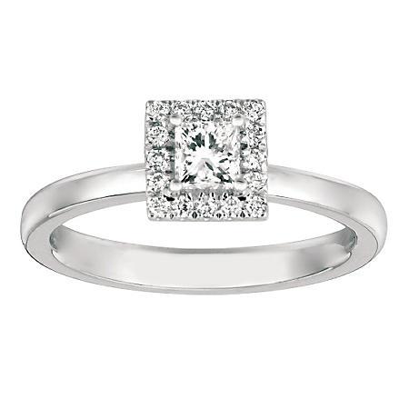 f6c708516 50 CT. TW. Princess-Cut Diamond Halo Ring 14K White Gold (I, I1 ...