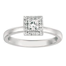 .50 CT. TW. Princess-Cut Diamond Halo Ring 14K White Gold (I, I1)