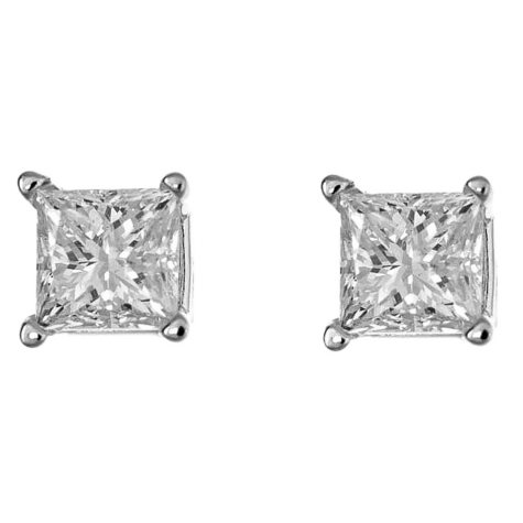 0.47 CT. T.W. Princess-Cut Diamond Stud Earrings in 14K White Gold (H-I, SI2)