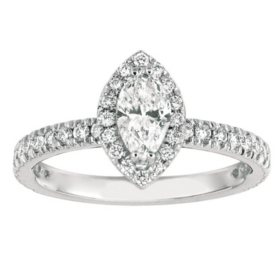 1.00 CT. TW. Marquise-Cut Diamond Halo Ring 14K White Gold (I, I1)