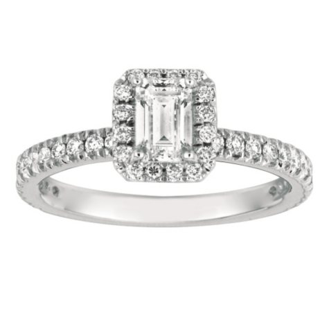 1.00 CT. TW. Emerald-Cut Diamond Halo Ring 14K White Gold (I, SI2)