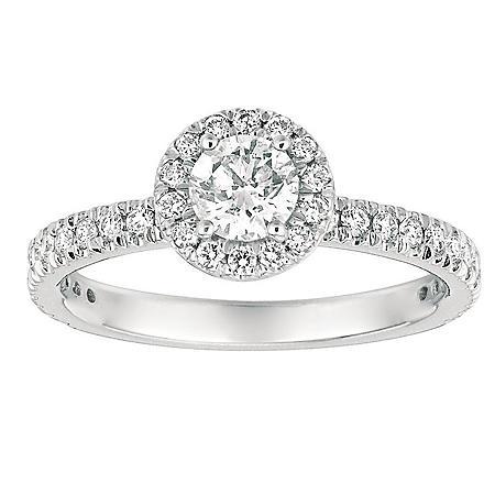 1.00 CT. TW. Round-Cut Diamond Halo Ring 14K White Gold (I, I1)