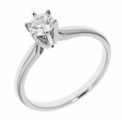 0.72 ct.  Round-Cut Diamond Solitaire in 18k White Gold (H, VS2)