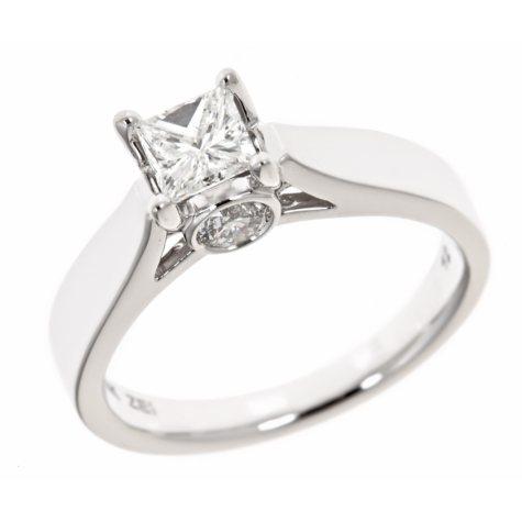 0.96 CT.T.W. Princess Center Diamond Solitaire Plus Ring in 14K White Gold (H-I, I1)