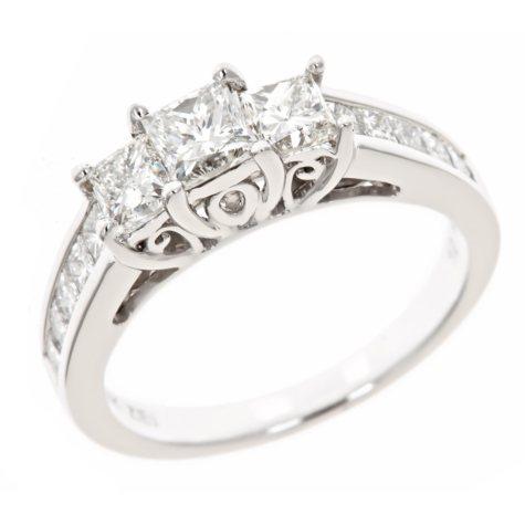 1.95 CT.T.W. 3-Stone Princess Diamond Ring in 14K White Gold (H-I, I1)