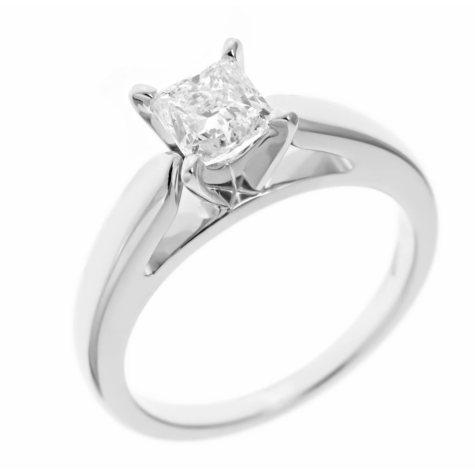 0.96 ct. Princess-Cut Diamond Solitaire in 14k White Gold (I, I1)