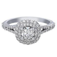 Premier Diamond Collection 1.21 CT. T.W. Round Brilliant Diamond Double Cushion Halo Engagement Ring in 18K White Gold - GIA & IGI (F,VS1)