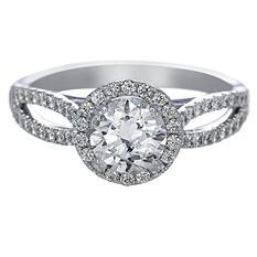 Premier Diamond Collection 1.38 CT. T.W. Round Brilliant Diamond Halo Engagement Ring in 18K White Gold - GIA & IGI (G, I1)