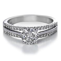 Premier Diamond Collection 1.41 CT. T.W. Round Brilliant Diamond Split Band Engagement Ring in 14K White Gold - IGI (G, I1)