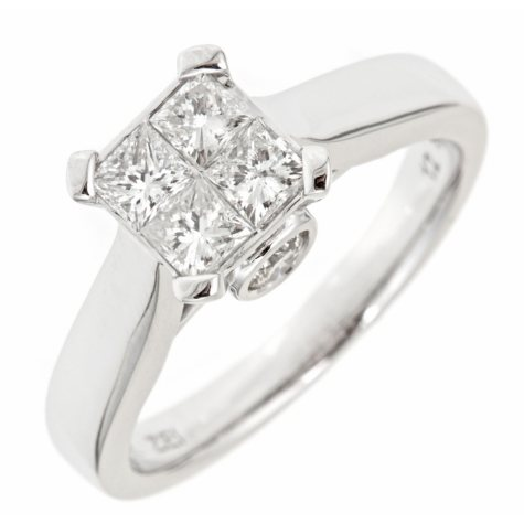 0.96 CT.T.W. Princess Diamond Engagement Ring in 14K White Gold (H-I, I1)