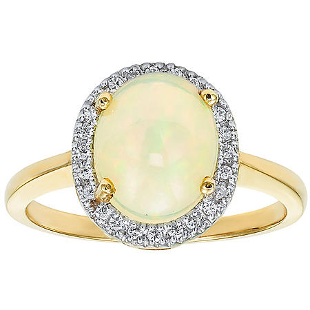 Oval Opal Ring in 14K Gold