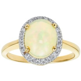 Oval Opal Ring in 14K Gold
