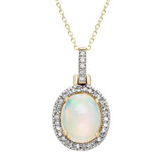 Oval Opal Pendant in 14K Yellow Gold