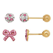 Children's Stud Earring Set with Pink Swarovski Crystal in 14K Yellow Gold