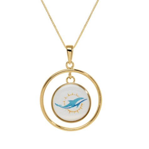 Miami Dolphins Double Drop Gold Necklace